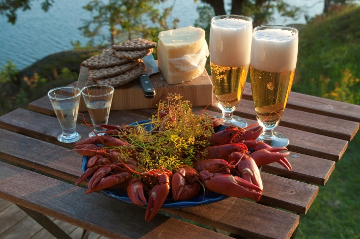 Table set for a traditional swedish crayfish party.